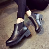 botas de inverno mulheres de couro Baixo Plano Bloco calcanhar ankle boots calçados impermeáveis Preto Plataforma Bloco sapatos de salto