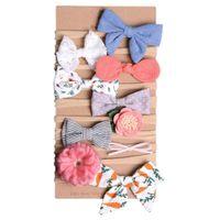 10pcs / set Kız bebekler Çiçek Bantlar Ve Yaylar Çiçek hairbands Naylon Kafa Saç Aksesuarları Seti İçin Yeni doğanlar Bebekler Bebekler