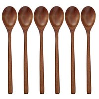 Natürliche Holz Löffel Gabel Bambus Küche Kochen Essensuppe Tee Honey Kaffee Utensil Tools Suppe-Teelöffel Geschirr Abendessen Löffel