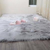 Simanfei Kıllı Halılar Yeni Koyun Derisi Düz Kürk Cilt Kabarık Yatak Odası Faux Paspaslar Yıkanabilir Yapay Tekstil Alanı Kare Kilim