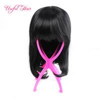 Peruca Suporte para cabelo humano laço completo perucas portátil Estável inquary Folding plástico colorido azul tamanho fácil mostrando perucas fica acessórios para o cabelo