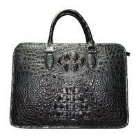 Brown Luxury Crocodile Mens Bag Black Leather Handbag for Men Fashion Casual Bag Business Large Briefcase