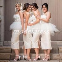 Fairy Tea Length Sheath Bridesmaid Dresses 2019 Spaghetti Fl...
