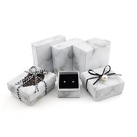 Jewellery Organizer Box Rings / Earrings / Bracelet necklace Storage Small Gift Box Fai da te Craft Case Display Wedding / etc bianco marmorizzato