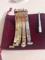 Titanium Steel Love Braclets Серебряный Розовый Золотой Браслет Браслеты Женщины Мужчины Винтарь Окрутчик Браслет Пара Ювелирные Изделия с Логотип