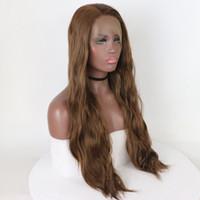 Barato perucas sintéticas Natural luz Brown Wave Lace Front perucas resistente ao calor peruca dianteira do laço sintético para mulheres