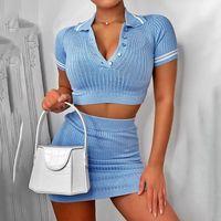 2 Adet Setleri Kısa Kollu Rahat Bodycon Kıyafetler Düğme Kırpma Üst Örgü Nervürlü Moda Kadınlar Etek Co-ord Set