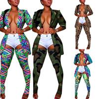 Sexy del leopardo Camouflage stampato variopinto Cappotti Suits Nightclub calze lunghe maniche lunghe risvolto collo Blazer Outfits