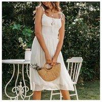 Пляж платье без рукавов шифон Женщины лето Пляжная одежда Backlesss Ruched платье отдыха женщин носить элегантные суточная белый саронг