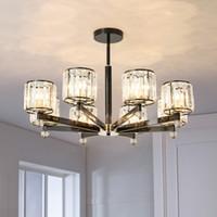LED-Pendelleuchte Klassische Schwarz Moderne Pendelleuchten für Wohnzimmer Esszimmer 3/6/8 Ringe Kristall Metallgehäuse