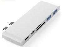 6 في 1 Dual USB Type C محول محول دونجل دعم USB 3.0 شحن سريع PD Thunderbolt 3 SD TF Reader ل MacBook