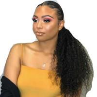 Kinky Curly Rabos De Cavalo Clipe Em Extensões de Cabelo para afro-americanos Kinky Coily Natural Rabo de Cavalo HairPieces Encaracolado Com Cordão Puff PONYTAIL