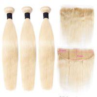 613 Frontal Maxine Remy Ile Demetleri Düz İnsan Saç Bundlle Frontal Paketler ile Sarışın 3 Demetleri Frontal