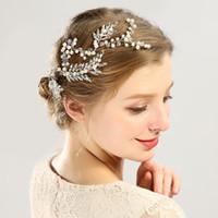 Almacén estadounidense hermosa artificial perla criminal novia tocado tejido de la boda de la boda de la moda accesorios para el cabello regalo de la joyería