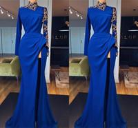 Nuovo arrivo Royal Blue Prom Dresses Long Sleeve gioiello high-side Split convenzionale lungo abito da sera indossare abiti vesti de soirée abiti da sera