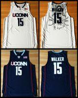كيمبا ووكر جيرسي # 15 Uconn أقوياء البنية مخيط كرة السلة الساخنة جيرسي S-XXL البحرية الأزرق الأبيض شحن مجاني