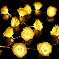 10led 홀리데이 발렌타인 데이 웨딩 장식 HHA1131에 대한 인공 장미 꽃 문자열 조명 LED 로즈 램프 조명 꽃을 20led