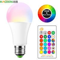 Haoxin E27 B22 16 اللون تغيير RGB الذكية LED لمبة 10 واط 85-265 فولت RGB الصمام مصباح أضواء + ir التحكم عن بعد المصابيح الصمام الذكية