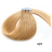 Fita Extensões de cabelo humano # 2 Dark Brown Pele trama Remy Virgem fita em extensões de cabelo profissional PU fita de cabelo