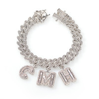 Custom Name Baguette Letters With Cuban Link Chain Bracelet ...