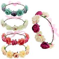 5pcs / Lot Bohemya Çiçek Çiçek Hairband İçin Kadınlar Taç Kafa Parti Düğün Gelin Plaj Şapkalar Süsleme Saç Aksesuarları