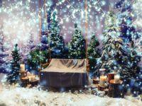 Качели заснеженного парк Vinyl Фотография фоны лес ели Photo Booth стол на Рождество студии реквизита