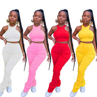 womens sportswear sleeveless outfits shirt pants two piece set skinny shirt tights sport suit pullover pants hot selling klw4239