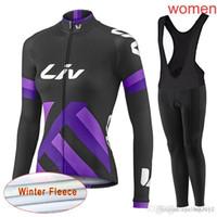LIV equipo Ciclismo Invierno Thermal Fleece jersey (bib) conjuntos de pantalones transpirable de alta calidad Mountain Bike 3D gel pad mujeres Ropa Ciclismo C2116
