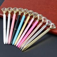 الزجاج الكريستالي المبدع Kawaii Ballpoint Pen Big Gem Ball Pen With Large Diamond 11 Colors Fashion School Supplies