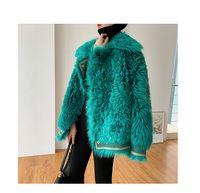 a su vez nuevas mujeres del diseño hacia abajo de color verde collar de pavo real frente dobles de imitación de piel caliente largo flojo de la manga de la chaqueta más el tamaño S M L XL