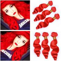 밝은 빨간색 인간의 머리카락 번들 3PCS 브라질 인간의 머리카락 순수한 붉은 느슨한 웨이브 짜다 번들 느슨한 물결 모양의 머리 Wefts 확장 혼합 길이