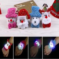 Рождество LED поглаживание круг браслет Санта-Клаус снеговик олень запястье Новый год партия праздничные украшения дети подарок