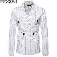 Blazer a rayas de doble botonadura blanca de los hombres 2019 primavera nuevo chal chal Slim Fit traje Blazer hombres boda traje de negocios Homme