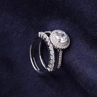 Brand name S925 Sterling Silver CZ double ring set with Diam...