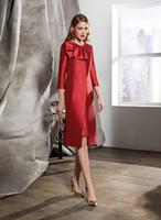 Chic Red Mother Of The Bride Abiti gioiello collo maniche lunghe al ginocchio Prom Dress con giacca in raso elegante abiti da sposa formale