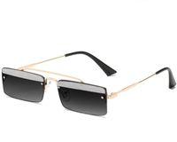 Çerçevesiz Dikdörtgen Metal Güneş Gözlüğü Avrupa Amerikan Moda Mini Güneş Gözlüğü Okyanus Parça Küçük Çerçeve Gözlük 7 renkler