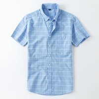 Men' s Short Sleeve Plaid Striped Dress Shirts Single Ch...