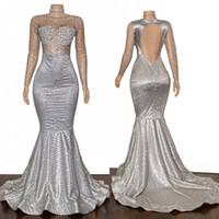 2020 Maniche Sparkly argento lungo sexy Prom Dresses Bateau Mermaid Backless riflettente degli abiti di sera