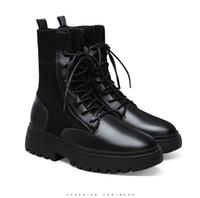 2020 yeni Deri Platformu Martin Çizme Peluş Dantel-up Siyah Kadın ayakkabı su geçirmez Moda Artış lüks tasarımcı Kadınlar Boots 36-40