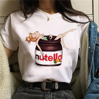 사용자 정의 인쇄 여성 여름 티셔츠 귀여운 nutella 디자인 streetwear 여자 셔츠 흰색 깨끗한 여자 티셔츠