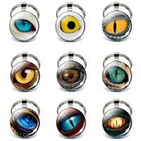 Keychain Artesanat mal dragon yeux Cabochon en verre pendentif porte-clés en métal Steampunk Bijoux Homme Accessoires Mode