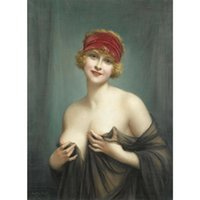 Francois Martin- Kavel The Lady with Red Ribbon Home Wall Art...
