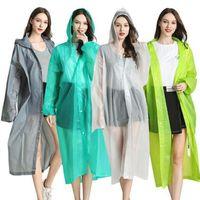 EVA Raincoat 22 Farben Frauen Man Wasserdichte Regen-Poncho Klar Transparent Camping Hoodie Regenkleidung Anzug LJJO7850