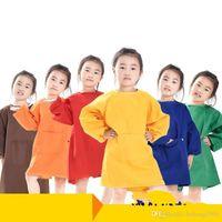 Nueva Kinder inversa Vestir a prueba de agua de la blusa de manga larga de los niños de fibra de poliéster delantal de Pintura Infantil Delantal del multicolor 9 5sk