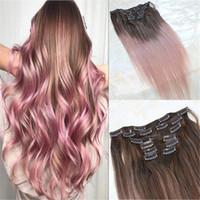 Clipe em extensões de cabelo humano engrossar trama dupla 9a cabelo brasileiro 120g 7 pcs marrom para rosa rosa realce cabeça cheia sedosa
