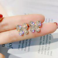 New cristal brincos brincos borboleta For Women 2019 Partido Coréia Jóias de Prata oorbellen
