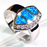 SHUNXUNZE Trauringe für Frauen Zubehör Markdown Verkauf drop Blau Opal und weißen Zirkonia Rhodium überzogen R114 Größe 6 7 8 9