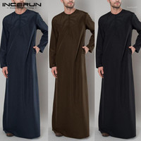Vêtements ethniques incerunes Kaftan islamique arabe Hommes Zipper à manches longues Couleur Robes Musulman Vêtements Musulman Abaya Saudi Arabie Thobe Robe Caftan 2021 5XL