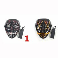 10 couleurs LED Masques Ghost Halloween mascarade Masques facial Les costumes de masque fil incandescent Purge Film Party masque cadeau