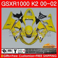 Frame For SUZUKI GSXR 1000 K2 GSXR1000 2000 2001 2002 Body 14HC.93 GSX R1000 00 02 GSXR-1000 GSX-R1000 00 01 02 light yellow Fairings kit